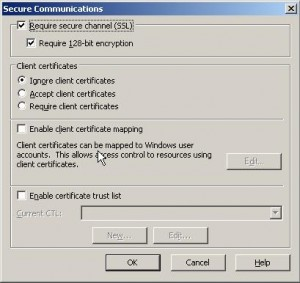 IIS Secure Communications Dialog Box